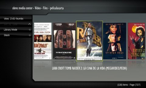 Vista en modo carátula DVD