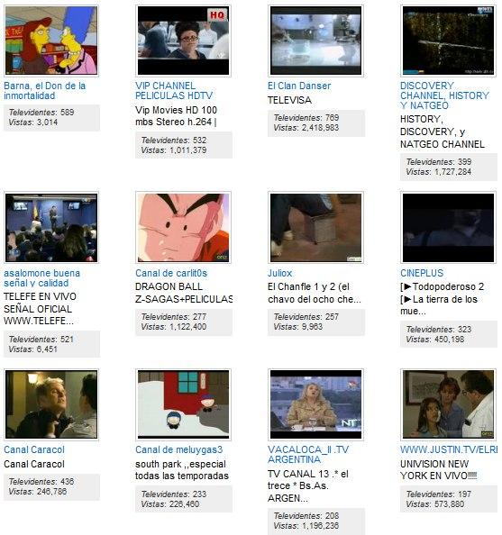 Canales de entretenimiento en Justin.TV