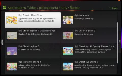 Lista de vídeos de tu.tv con titulo, descripción y thumbnail