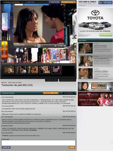 El reproductor de vídeo de Telemundo
