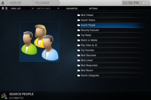 Plugin YouTube en XBMC con skin Rapier