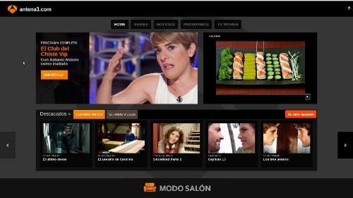 """Home de Antena 3 en """"Modo salón"""""""