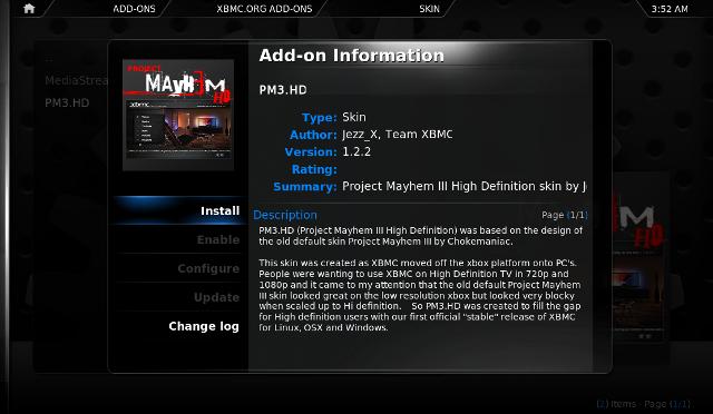 Add-on manager de XBMC