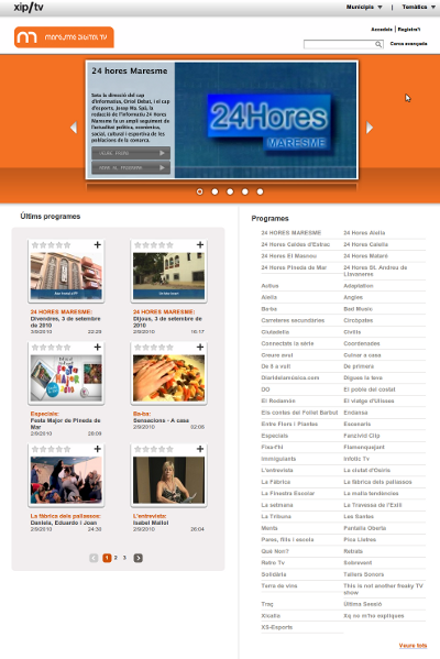 Página de la cadena m1tv (Maresme Digital TV)