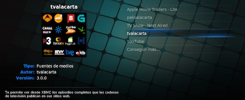 tvalacarta en el media center XBMC, como add-on oficial