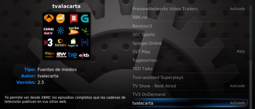 tvalacarta como add-on oficial del media center XBMC