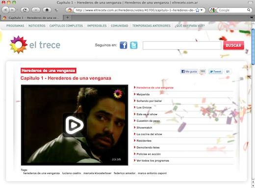 La página con el vídeo