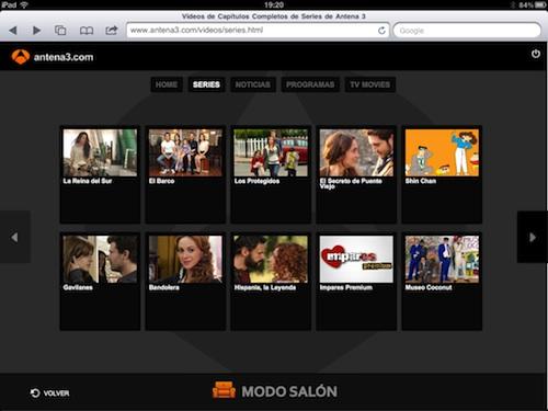 Modo salón de Antena 3 en el iPad