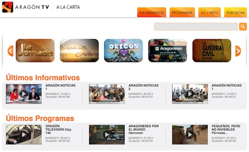 La home de Aragón TV a la carta