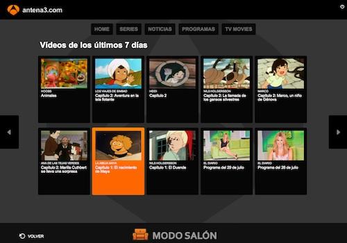 Últimos vídeos de Antena 3 en modo salón