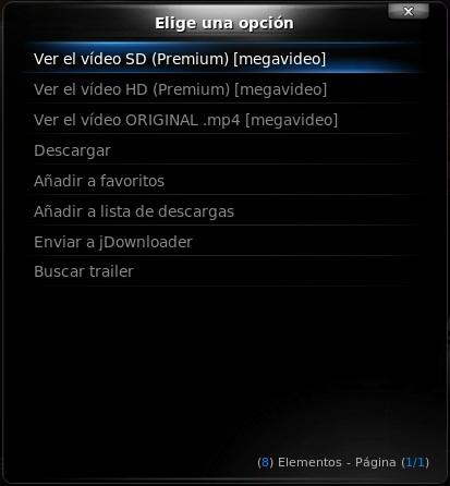 Selector Megavideo premium